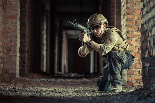 Airsoft soldier aiming down sight